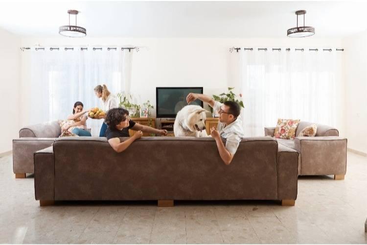 חבר'ה מבלים בסלון